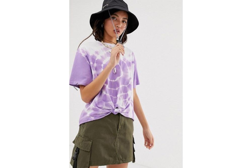 ASOS DESIGN oversized knot front t-shirt in tie dye