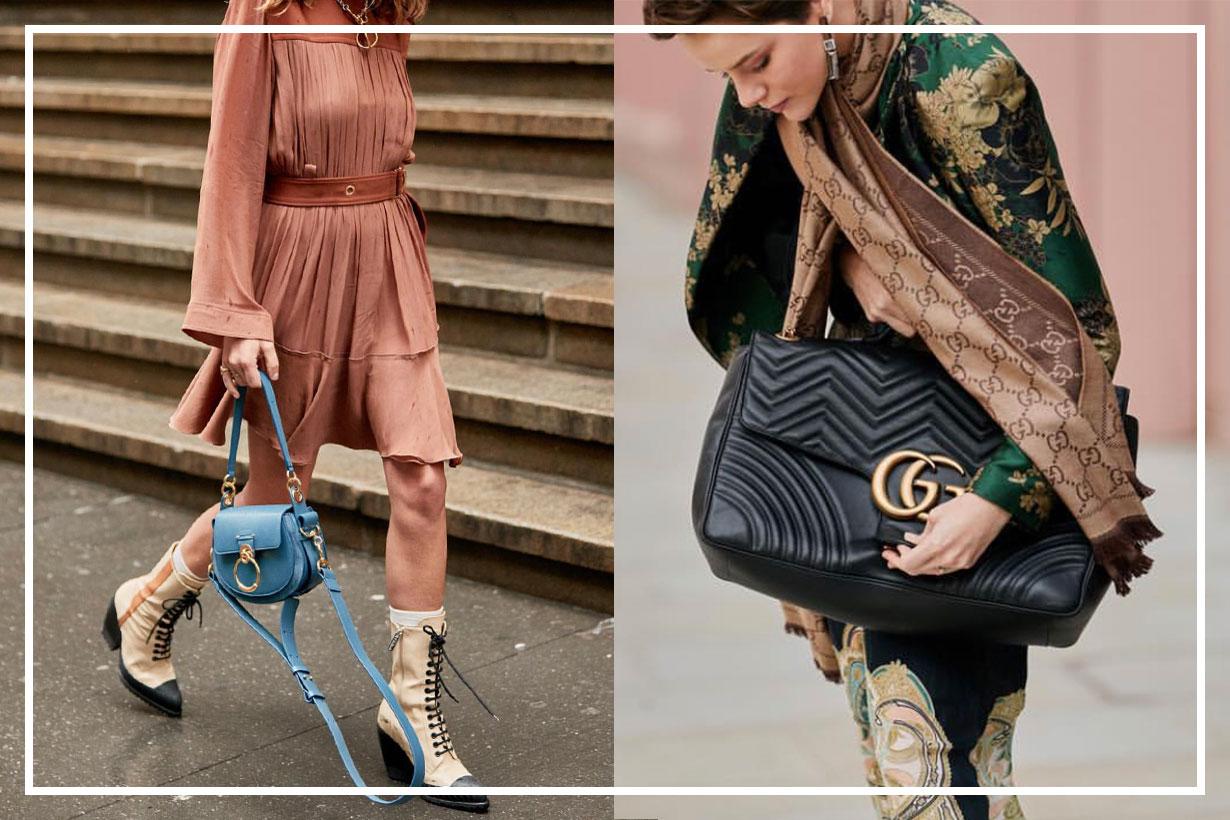 Gold buckle is the main design of trendy handbags