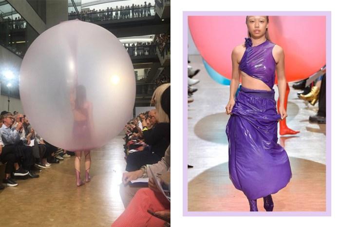 影片在 IG 引起騷動!設計學院的天橋上,模特身上的汽球「漏氣」變時裝?