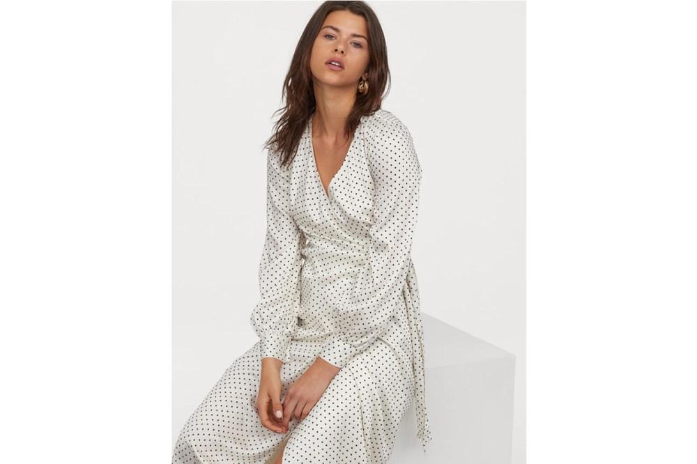 Calf-Length Wrap Dress