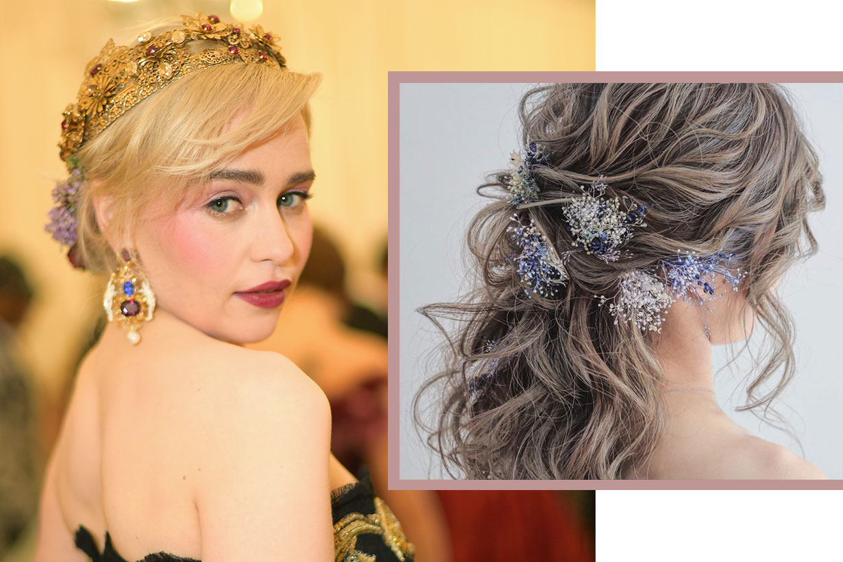 Emilia Clarke Met Gala hairstyle floral