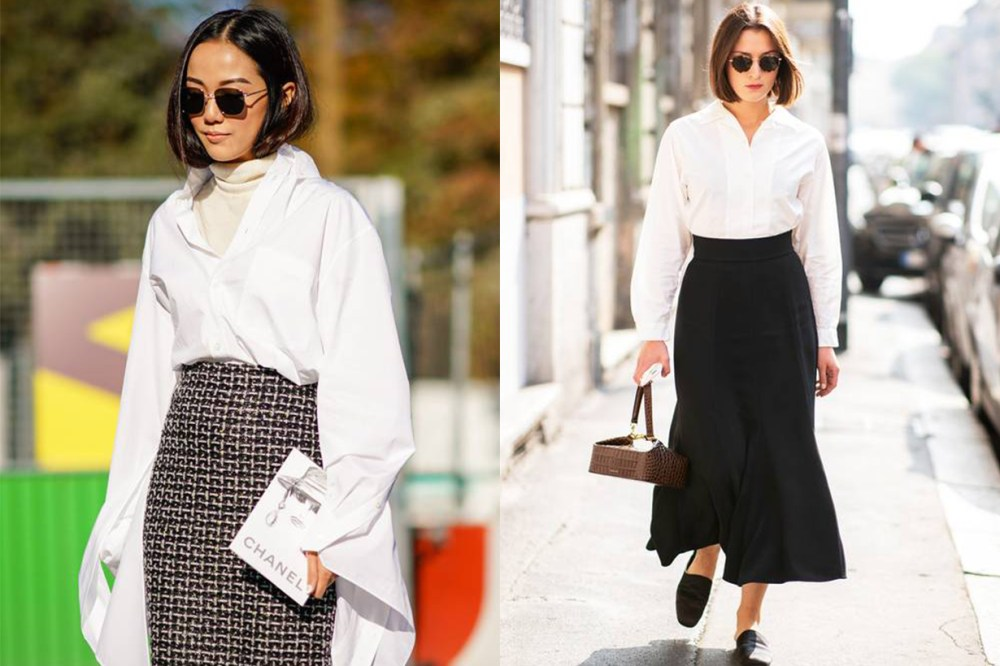 White Shirt Black Skirt Sunglasses Street Style