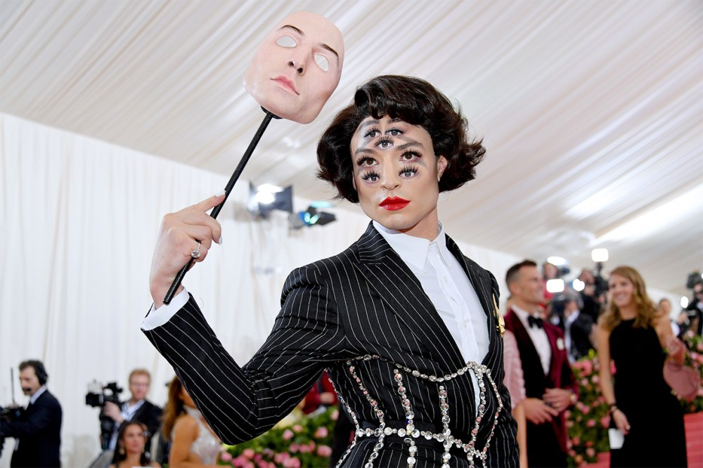 Ezra Miller Made 7 Eyes Makeup Mask Met Gala Red Carpet