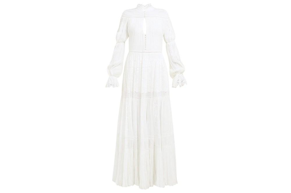 Lace-Panel Silk-Chiffon Dress