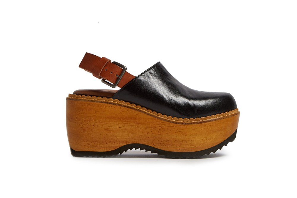 Leather and Wood Slingback Clog-Sandals
