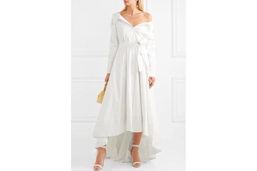 Lou Off-The-Shoulder Cotton-Blend Poplin Gown