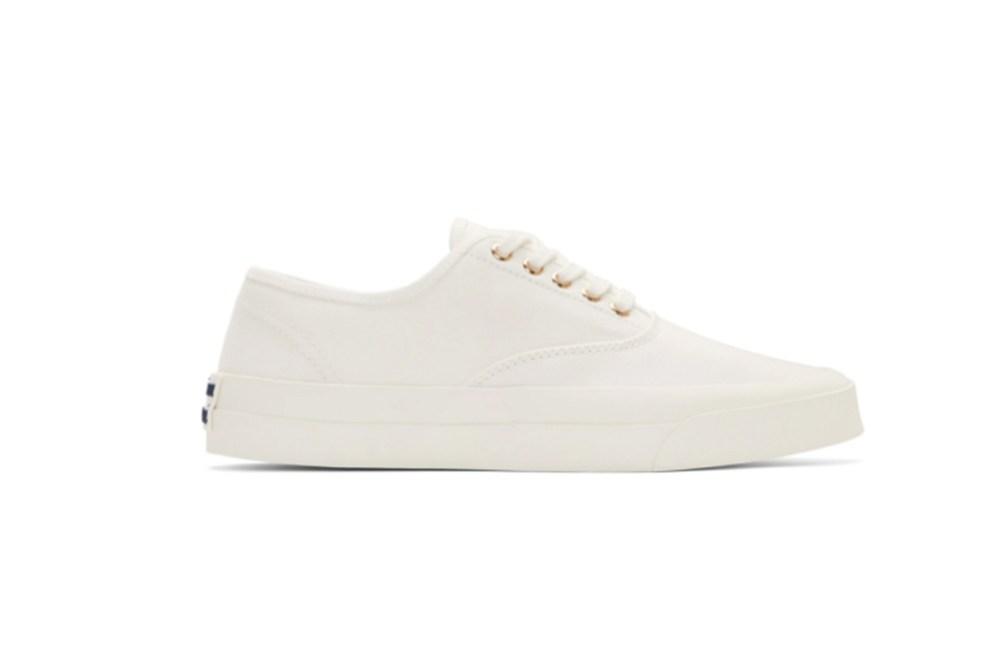 Maison Kitsuné White Canvas Laced Sneakers