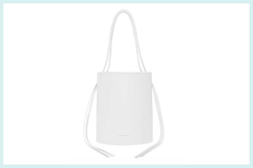 Mansur Gavriel White Fringe Bucket Bag
