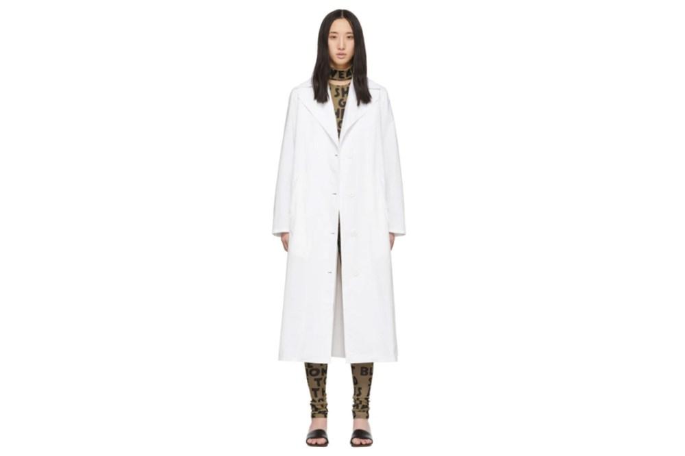 MM6 Maison Margiela White Wrap Trench Coat