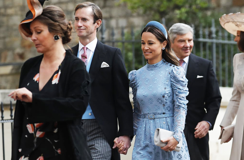 Pippa-Middleton-Blue-Dress-Lady-Gabriella-Windsor-Wedding