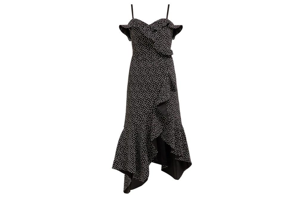 Polka Dot-Print Off-The-Shoulder Midi Dress