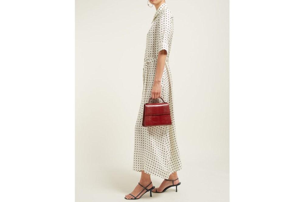 Polka Dot-Print Silk-Satin Dress