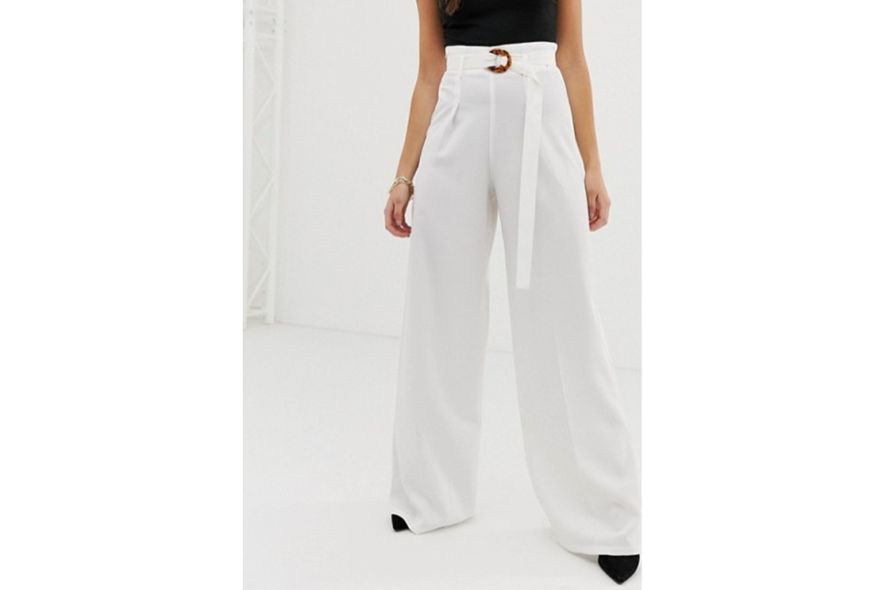PrettyLittleThing wide leg trousers with tortoiseshell belt in white