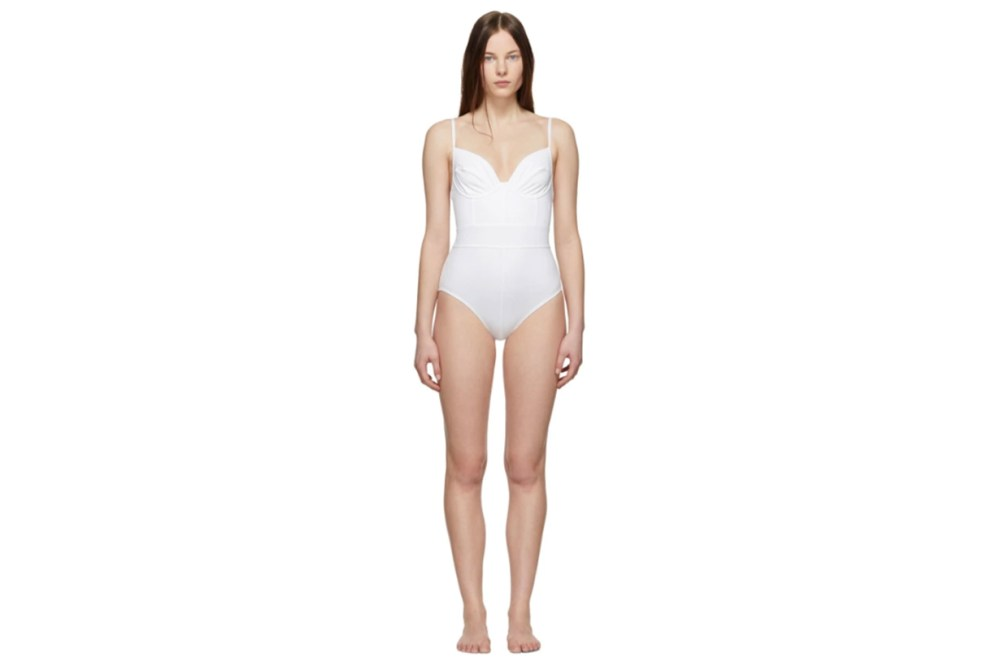 Proenza Schouler White Bustier One-Piece Swimsuit