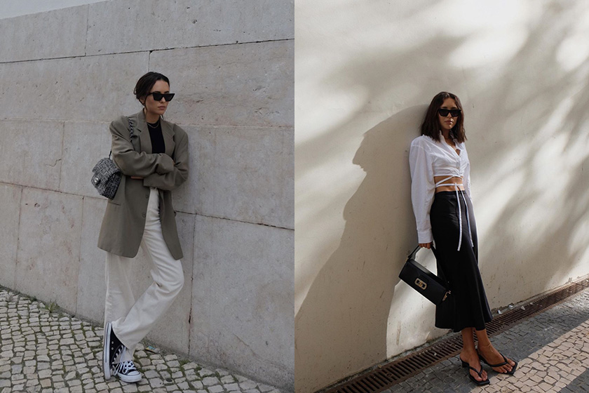 Débora Rosa fashion blogger Instagram black and white outfit