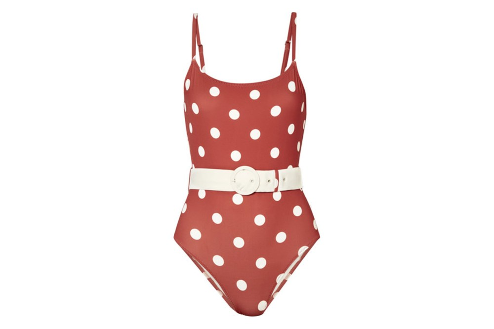 The Nina Belted Polka Dot Swimsuit