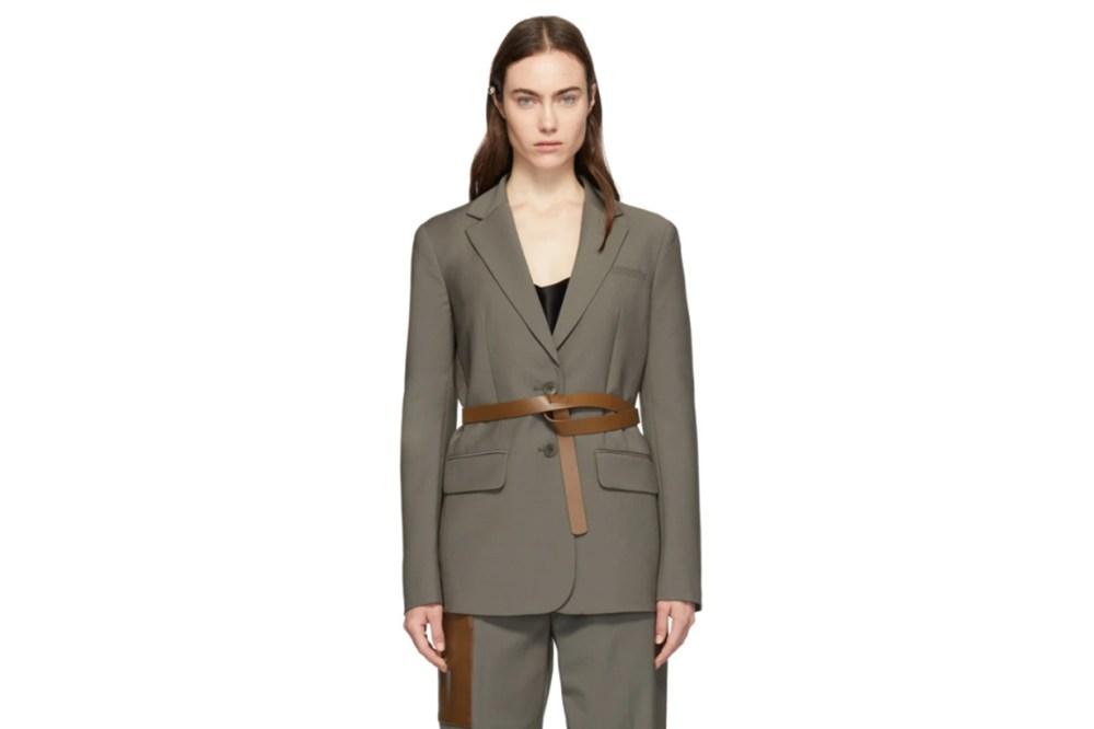 Tibi Grey Plain Weave Tablier Blazer
