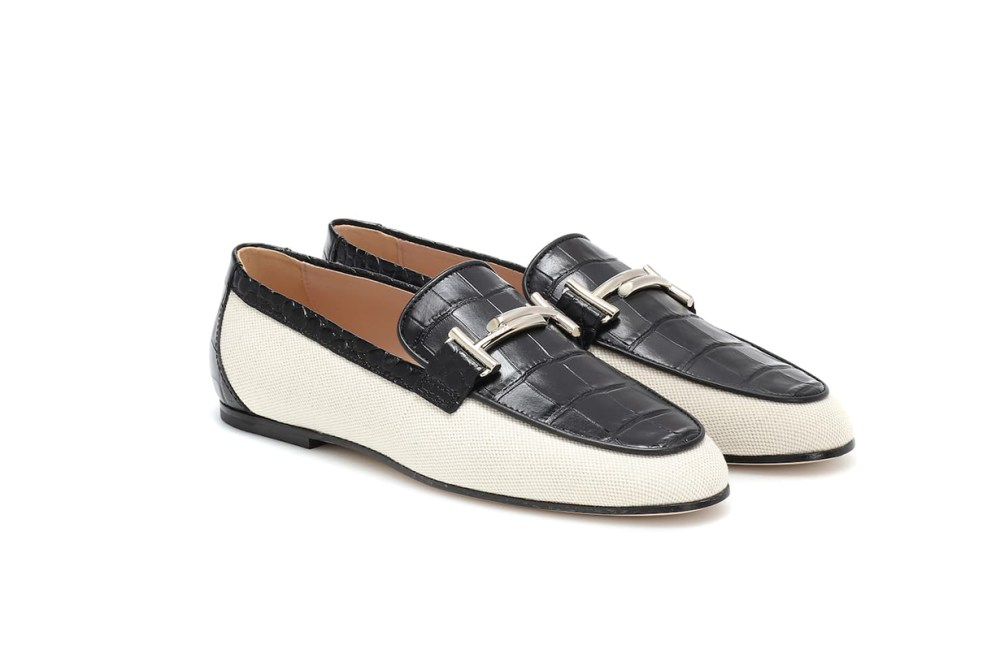 TOD'S Double T Canvas and Leather Loafers