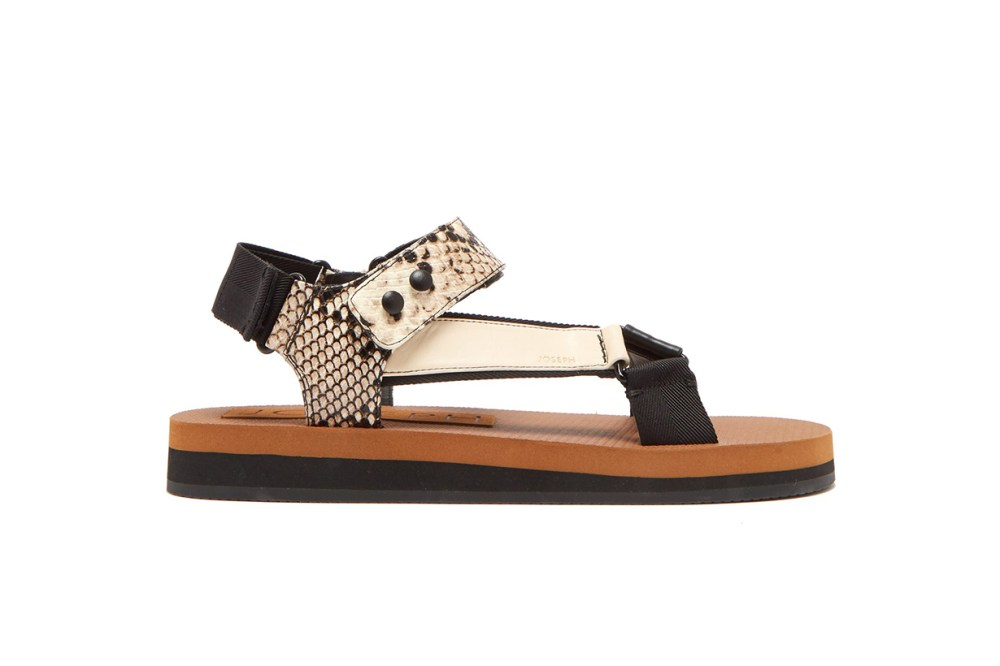 Tri-Colour Python-Effect Leather Sandals