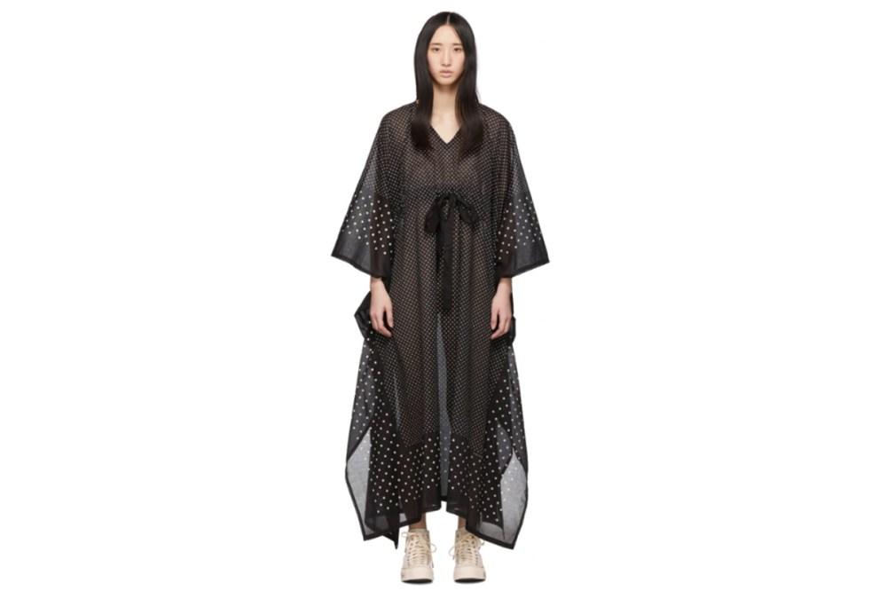 Visvim Black Kaftan Dots Dress