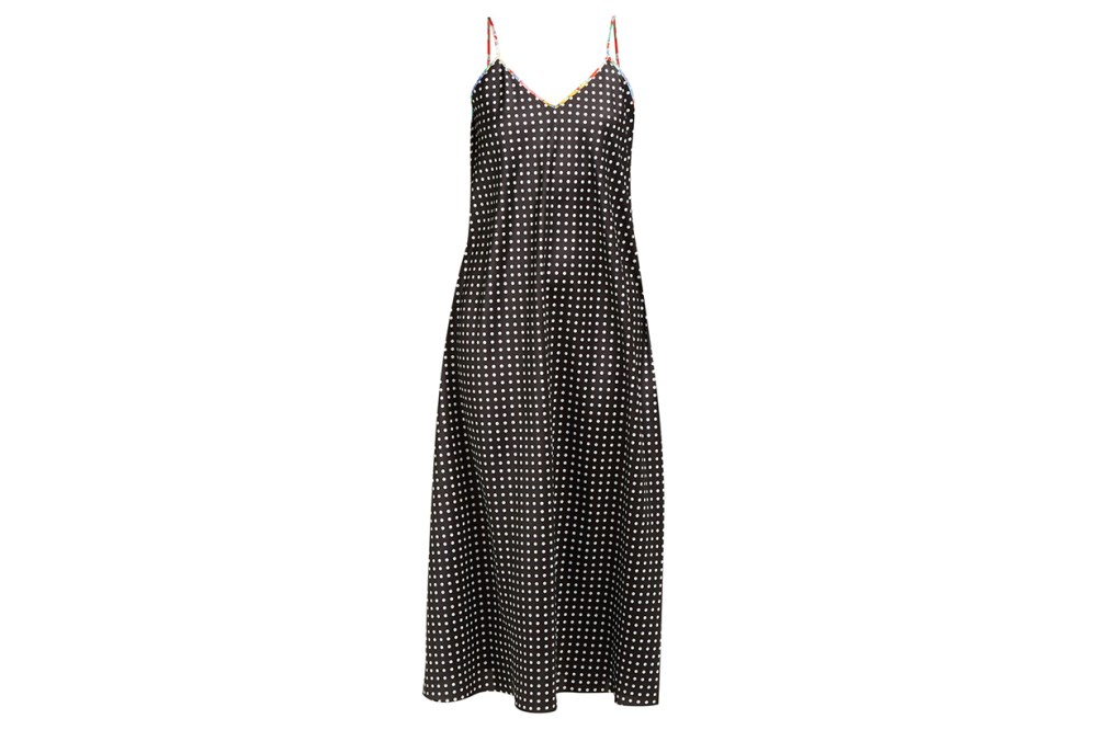 Racil X Aquazzura Geiko Polka-Dot Satin Slip Dress