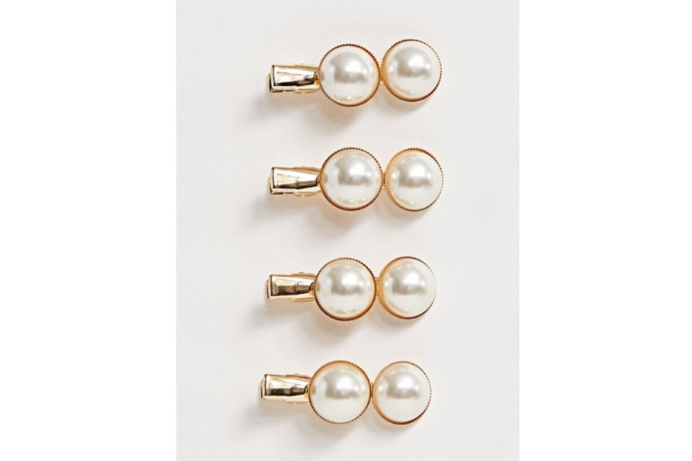 ASOS DESIGN pack of 4 mini hair clips with double pearls