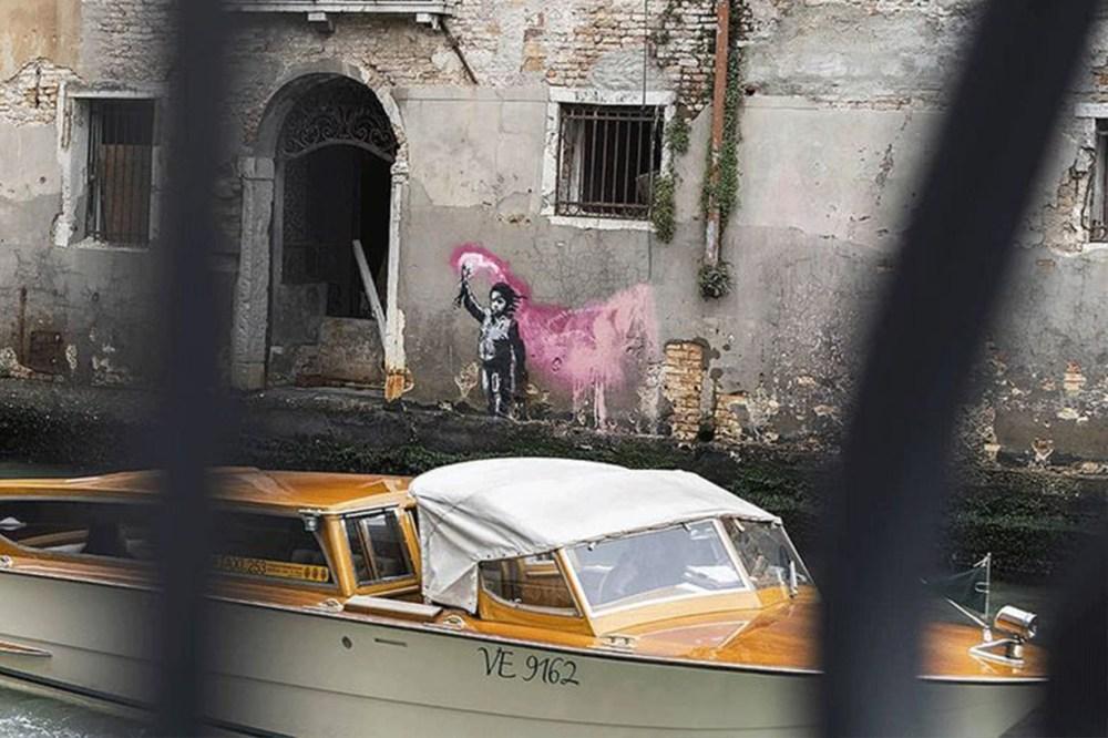 Banksy Venice in oil art little boy