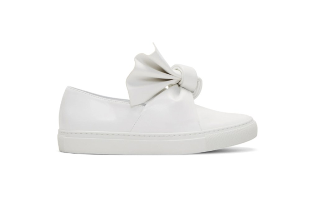 Cédric Charlier White Bow Slip-On Sneakers