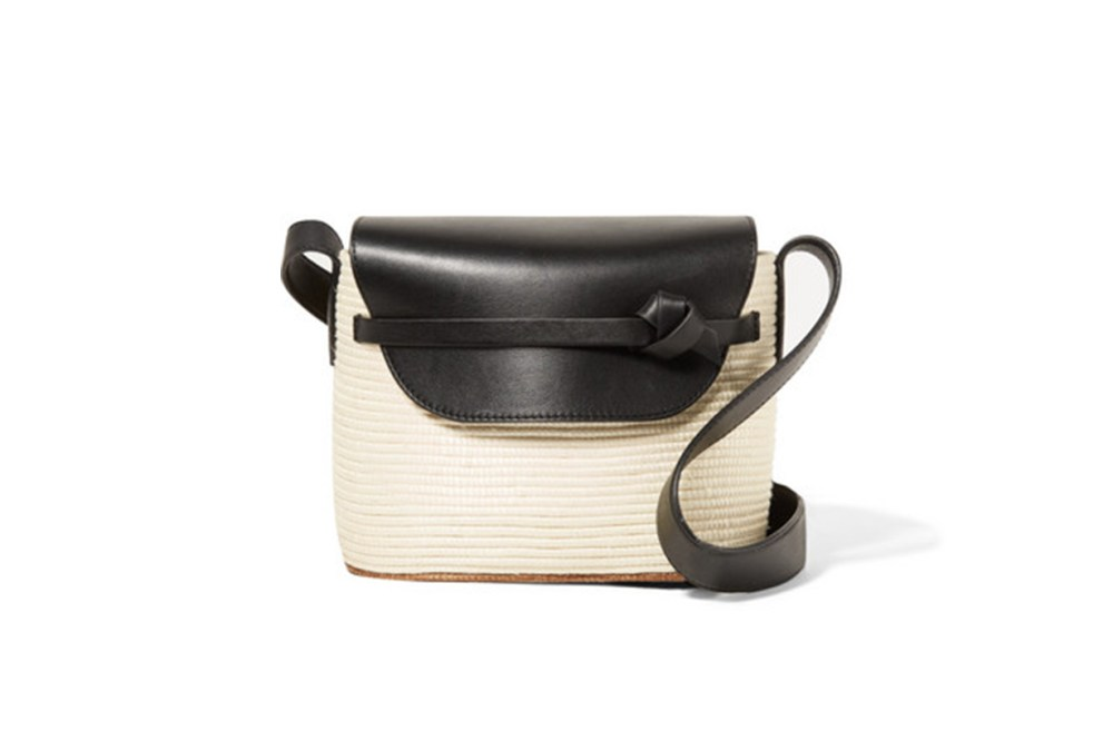 CESTA COLLECTIVE Lady Leather-Trimmed Woven Sisal Shoulder Bag