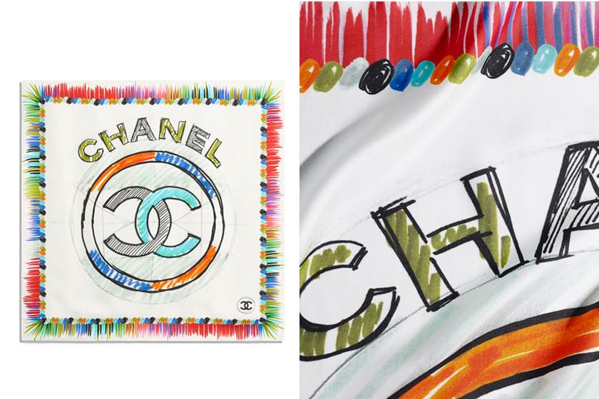 chanel-silk scarf for handbags