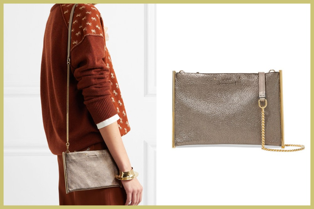 CHLOÉ Roy Small Metallic Textured-Leather Shoulder Bag
