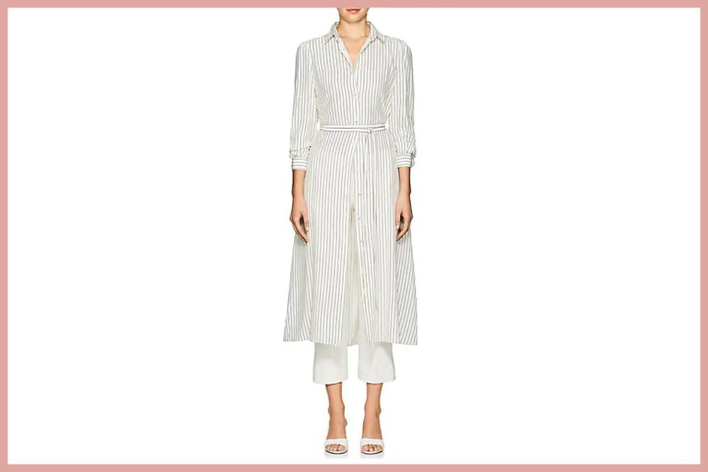 CO Striped Silk Crepe Shirtdress