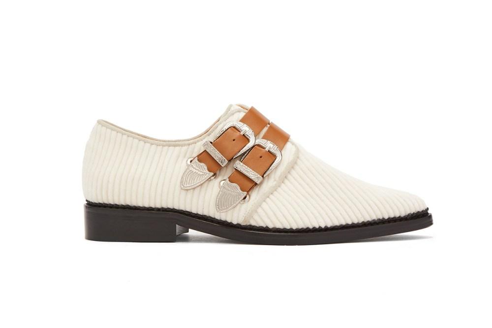 Corduroy Double Buckle Loafers