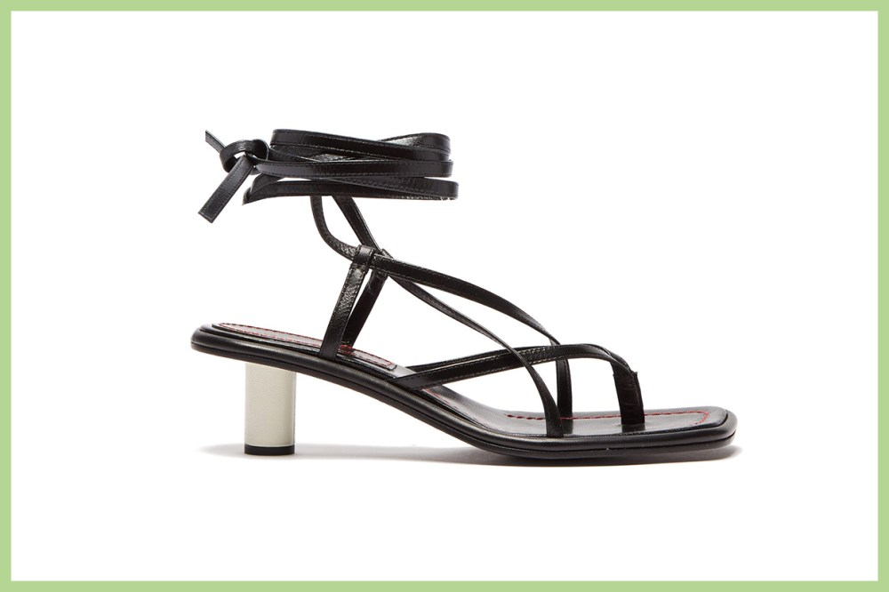 Cylindrical-Heel Wrap-Around Leather Sandals