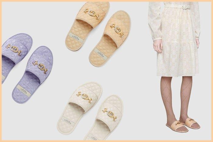 配睡褲或連身裙才合襯?只需一個 Gucci 金扣,家居拖鞋瞬間從平凡變非凡!