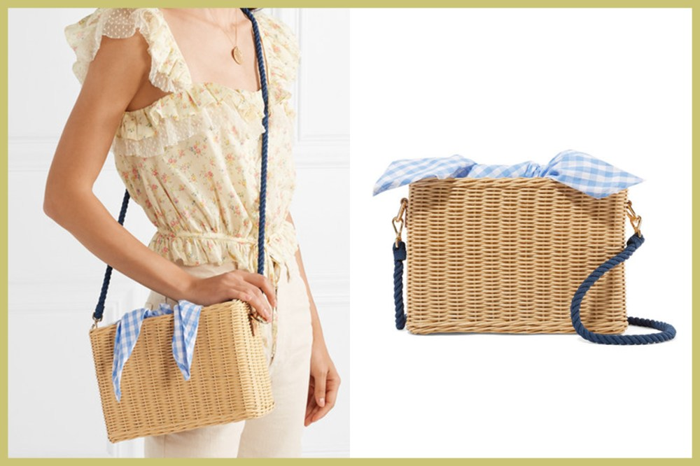 KAYU Chloe Wicker and Gingham Cotton-Canvas Shoulder Bag
