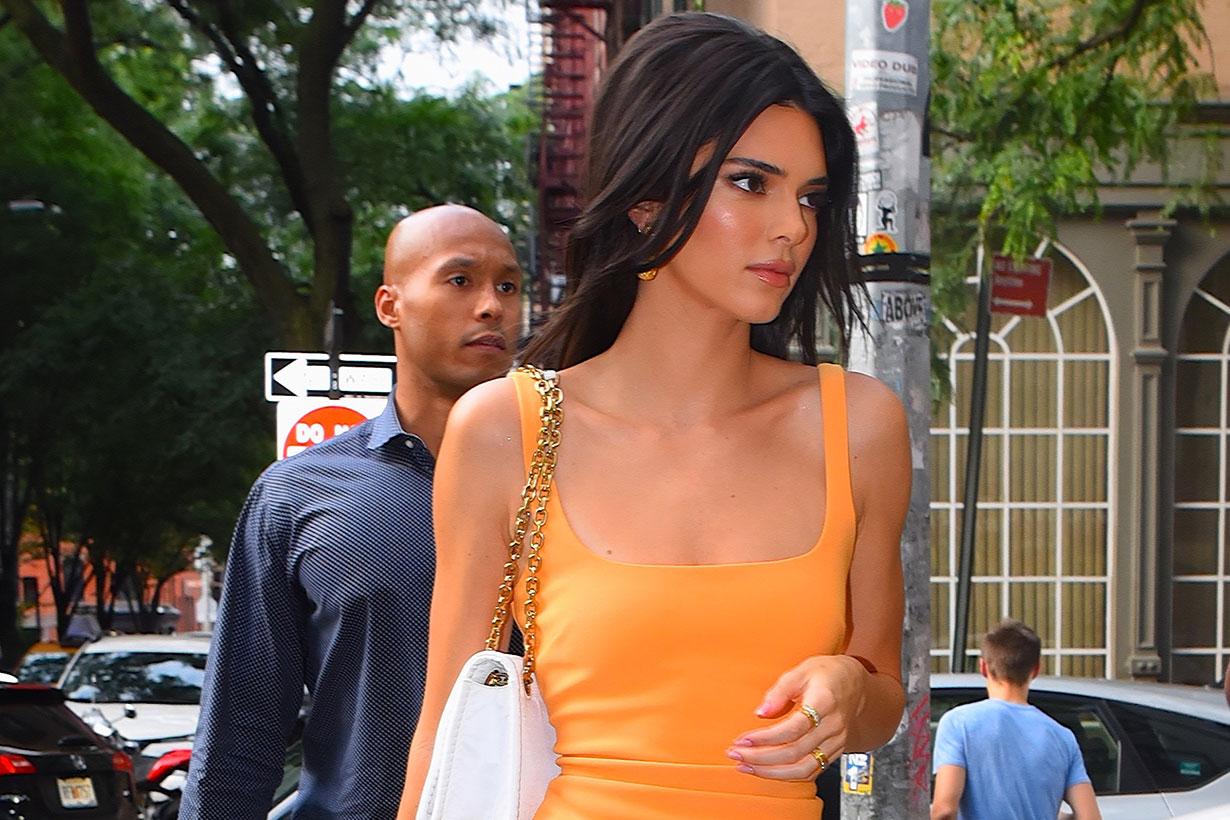 Kendall Jenner orange dress street style