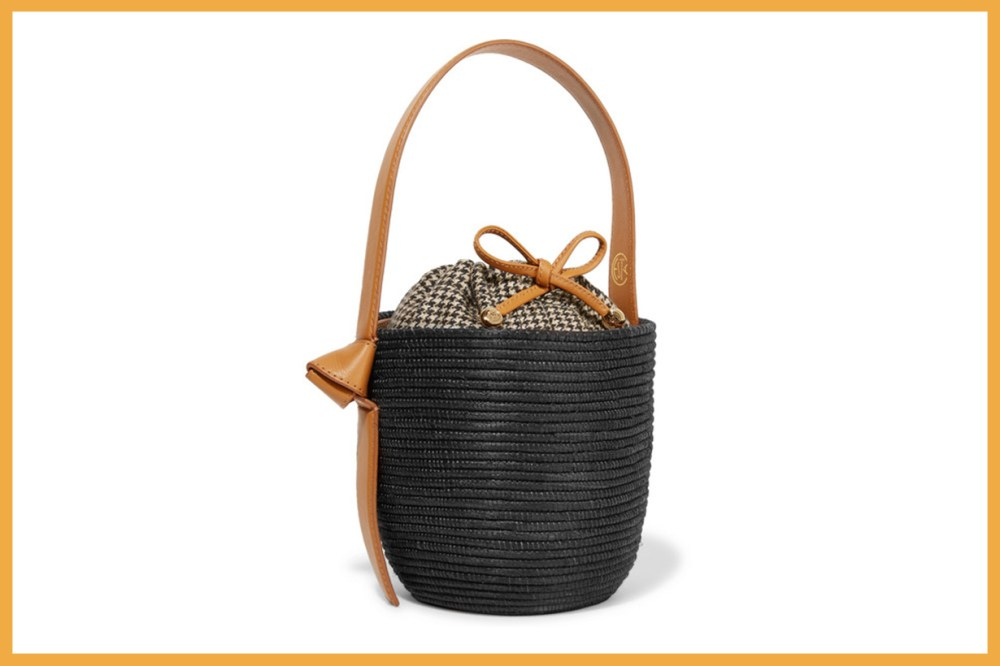 Cesta Collective Lunchpail Leather-Trimmed Woven Sisal Bucket Bag