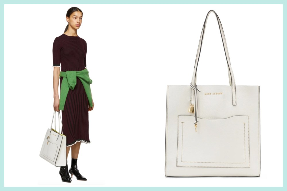 Marc Jacobs White 'The Grind' T Pocket Tote