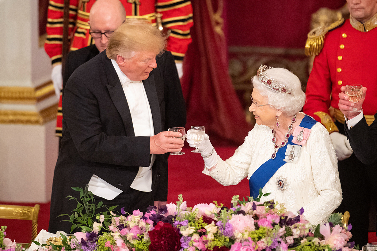Queen Elizabeth II President Donald Trump of the United State State Visit Burmese Ruby Tiara British Royal Family