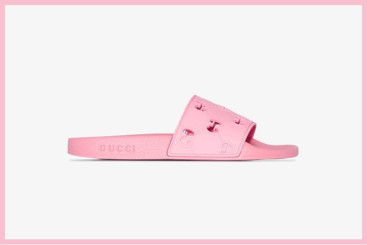 gucci pink monogram logo slides