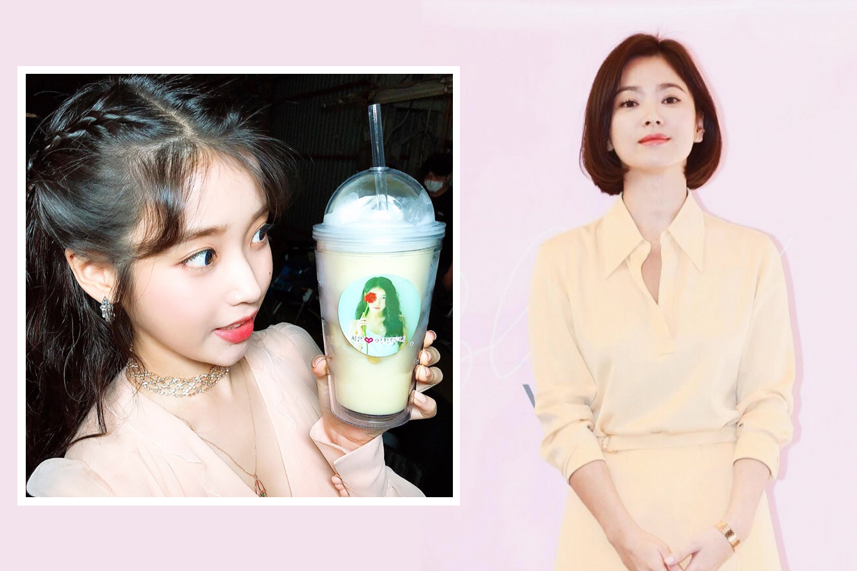 IU Lee Ji Eun Song Hye Kyo Hotel del Luna coffee trunk Coffee Pong encouragement good friends k pop korean idols celebrities actresses singers