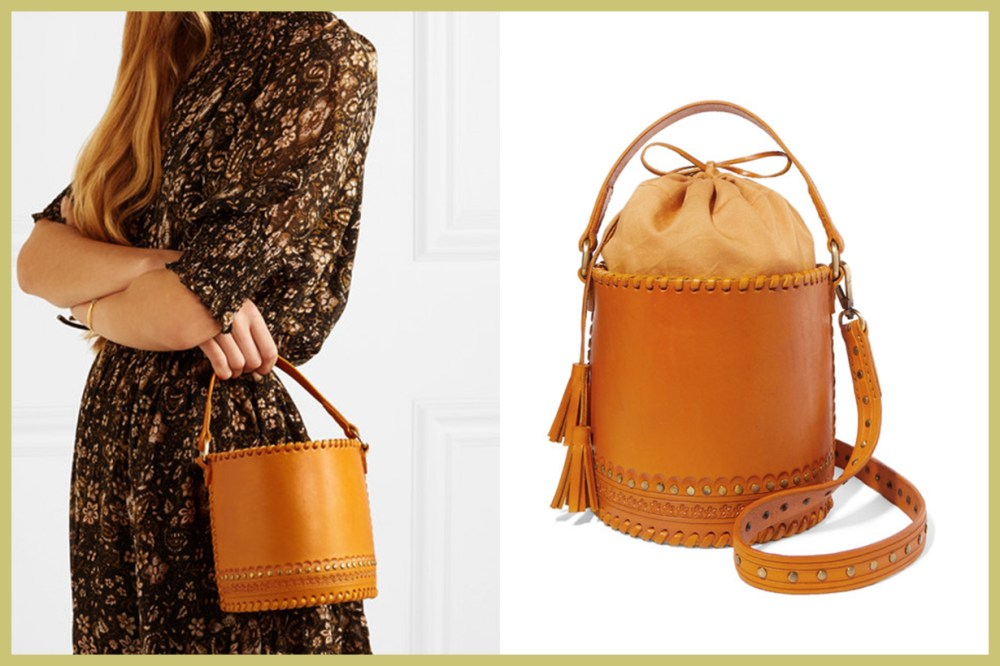 ULLA JOHNSON Andra Embellished Leather Bucket Bag