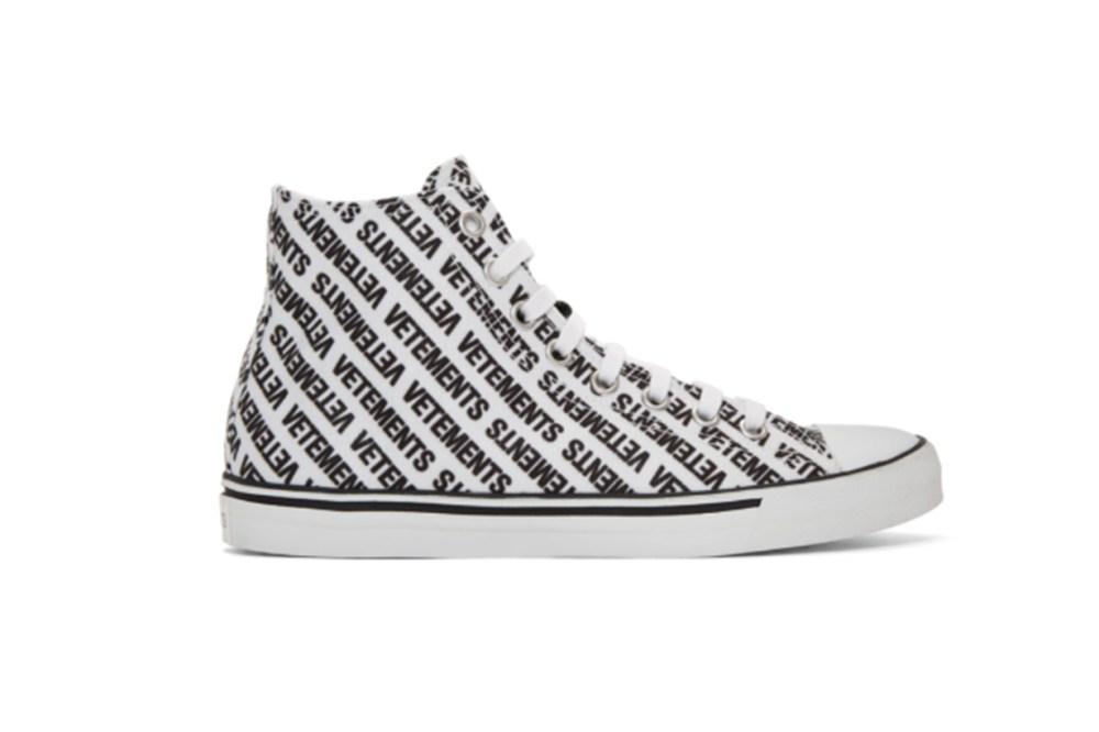 Vetements White & Black Canvas Logo High-Top Sneakers