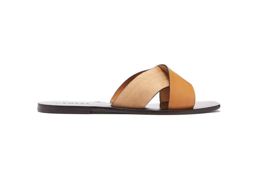 Ada Cross-Strap Leather and Suede Slides