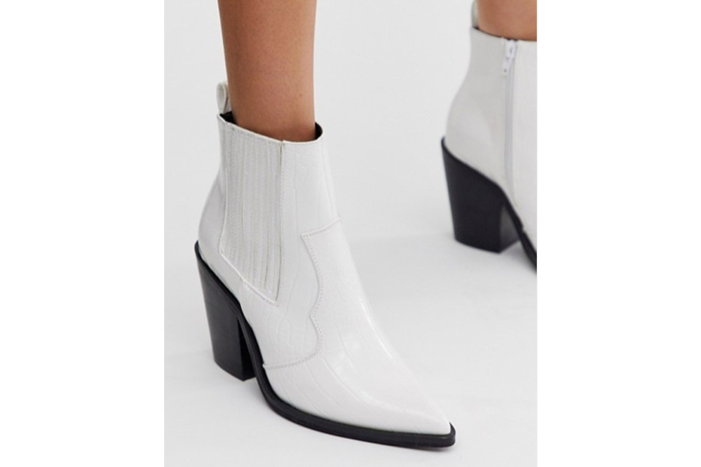 ASOS DESIGN Elliot Western Boots in White Croc