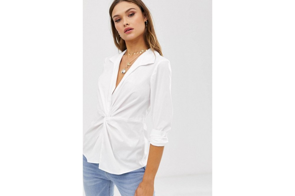 ASOS DESIGN Long Sleeve Plunge Shirt with Knot Front in Cotton Poplin