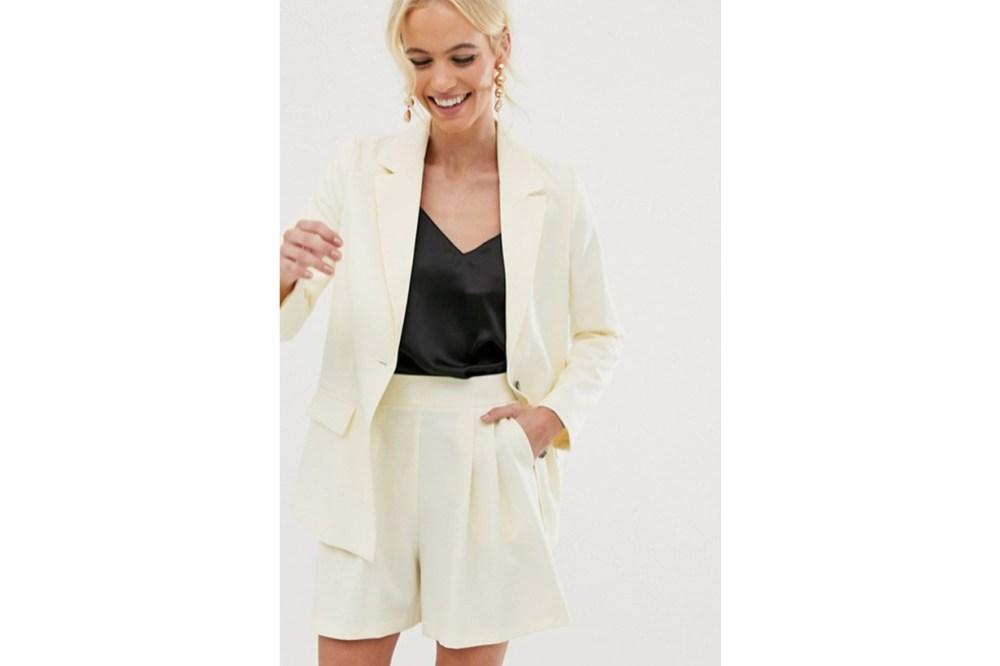 ASOS DESIGN Soft Suit Blazer in Buttermilk