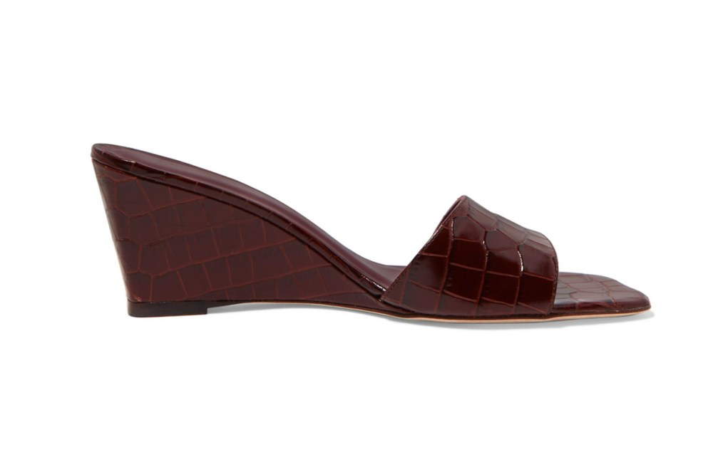 Billie Croc-Effect Leather Wedge Mules