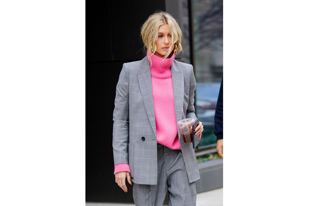 Hailey Baldwin Checked Blazer